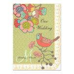 "Wedding Whimsy Birds 5x7 Custom Wedding Invitation 5"" X 7"" Invitation Card"