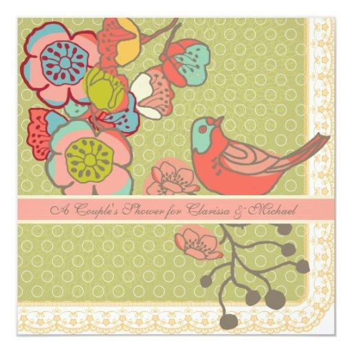 "Wedding Whimsy Birds Couple's Shower Invitation 5.25"" Square Invitation Card"