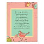 "Wedding Whimsy Birds Information Sheet 4.25"" X 5.5"" Invitation Card"