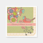 Wedding Whimsy Birds Personalized Paper  Napkins Paper Napkins