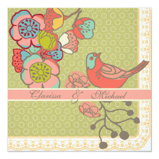Wedding Whimsy Birds Square Wedding Invitation