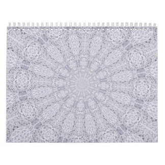 Wedding White Lace Mandala Kaleidoscope Abstract 1 Calendar