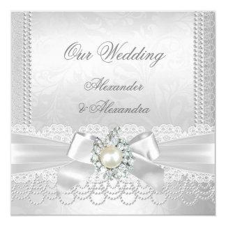 Amazing Wedding White Pearl Lace Damask Diamond Silver Card
