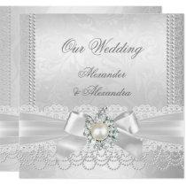 Wedding White Pearl Lace Damask Diamond Silver Invitation