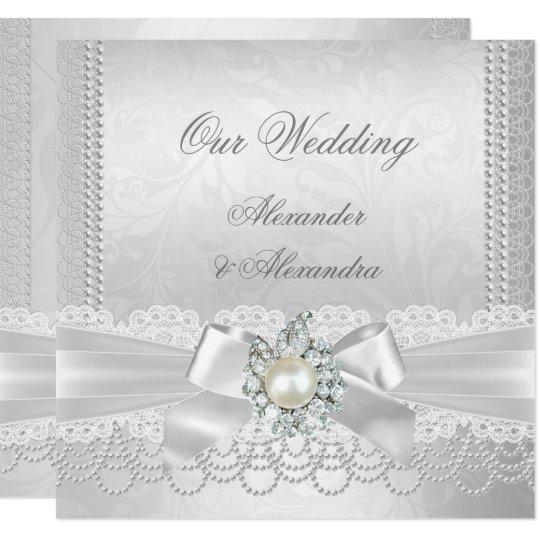 Wedding White Pearl Lace Damask Diamond Silver Invitation Zazzle Com