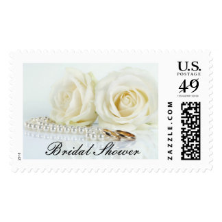 Wedding White Roses - Bridal Shower Postage Stamp