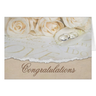 wedding white roses card