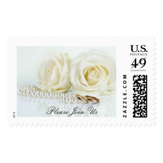 Wedding White Roses - Please Join Us Postage
