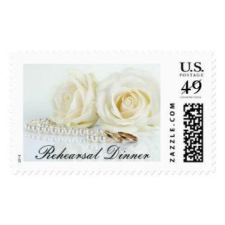 Wedding White Roses - Rehearsal Dinner Postage