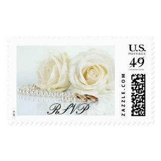 Wedding White Roses - RSVP Postage Stamp