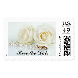 Wedding White Roses - Save the Date Postage