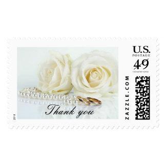 Wedding White Roses Thank you Postage Stamp