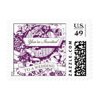 Wedding Wine Barrel Postage Stamp