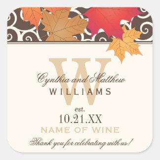 Wedding Wine Bottle Favor Labels | Fall Theme