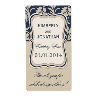 Wedding wine bottle label Elegant blue and beige Shipping Label