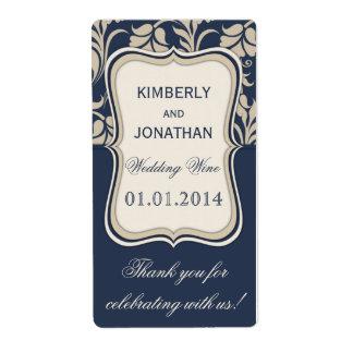 Wedding wine bottle label Elegant blue and brown