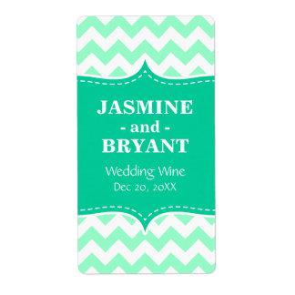 Wedding Wine Bottle Mint Chevron Pattern Favor Labels