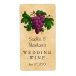 Wedding Wine Elegant Vintage Purple Grapes Custom Label