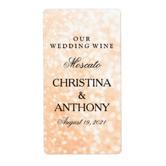 Wedding Wine Label Elegant Gold Bokeh Lights