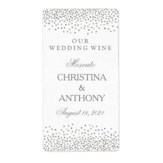 Wedding Wine Label Elegant Silver Confetti