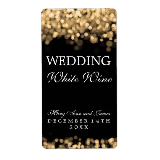 Wedding Wine Label Gold Lights