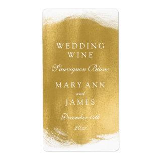 Wedding Wine Label Gold Paint Look