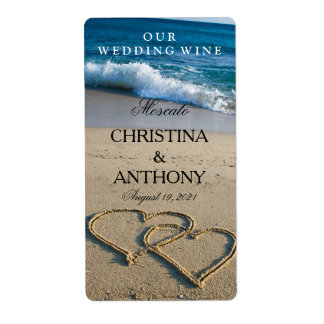 Wedding Wine Label Heart on the Shore Beach