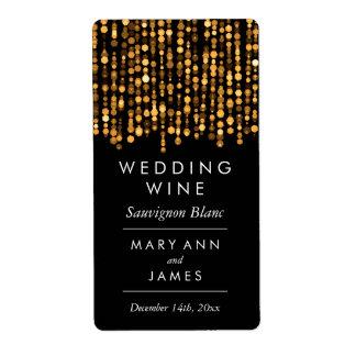 Wedding Wine Label Modern Gold Lights