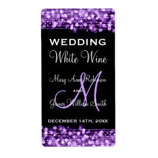 Wedding Wine Label Party Sparkles Purple