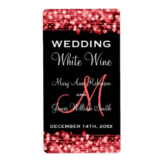 Wedding Wine Label Party Sparkles Red