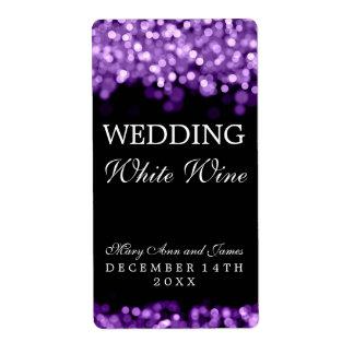Wedding Wine Label Purple Lights