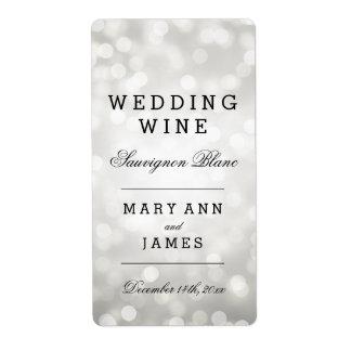 Wedding Wine Label Silver Glitter Lights