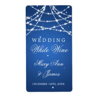 Wedding Wine Label Sparkling String Blue