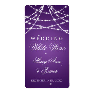 Wedding Wine Label Sparkling String Purple