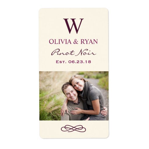 Wedding Wine Personalized Photo Favor Stickers Label thumbnail