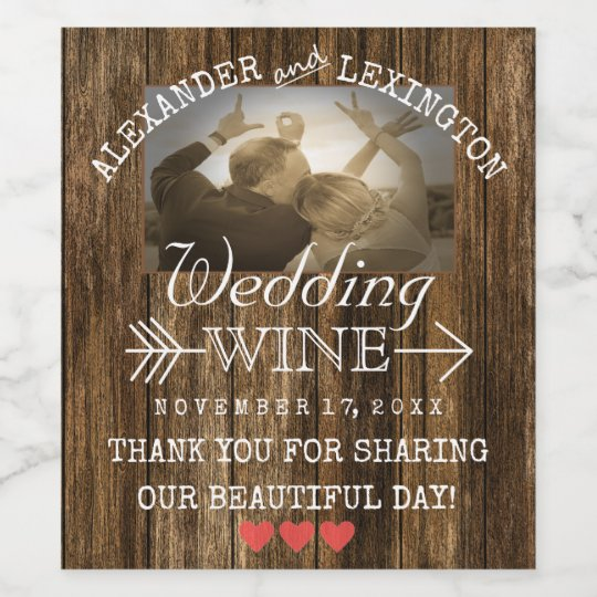 Personalised Keep Calm And Drink Wine Bottle Label Labels: Personalized Rustic Country Photo Wine