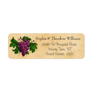 Wedding Wine | Tasting Party Vintage Purple Grapes Label