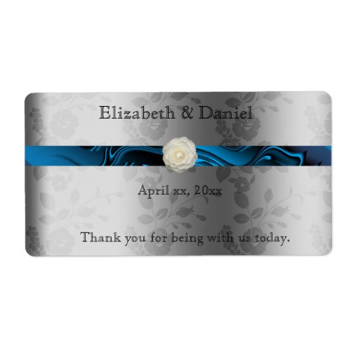 Wedding WineWater Bottle Label with Blue Ribbon