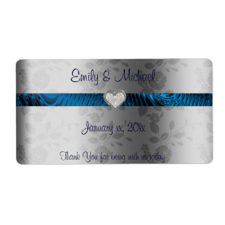 Wedding Wine / Water Label, Blue and Silver, Heart Label