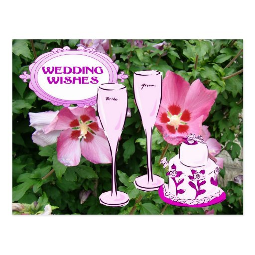 Wedding wishes, champagne and wedding cake post card