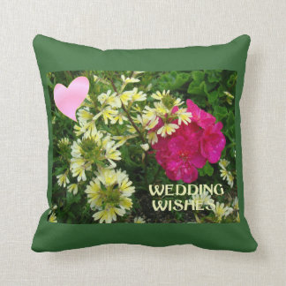 Wedding wishes, hearts and flowers throw pillow