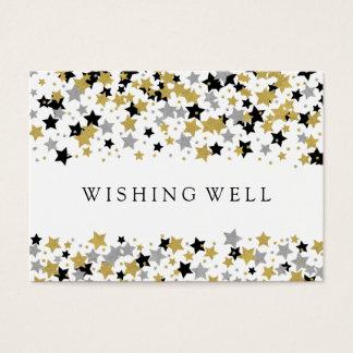 Wedding Wishing Well Gold Glitter Stars Confetti Business Card
