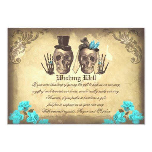 Wedding Wishing Well Skull Vintage Cards