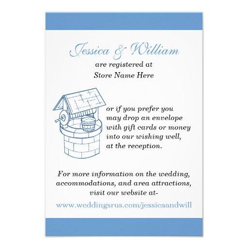 Wedding Wishing Well Amp Website Custom Card 35 X 5 Invitation Card