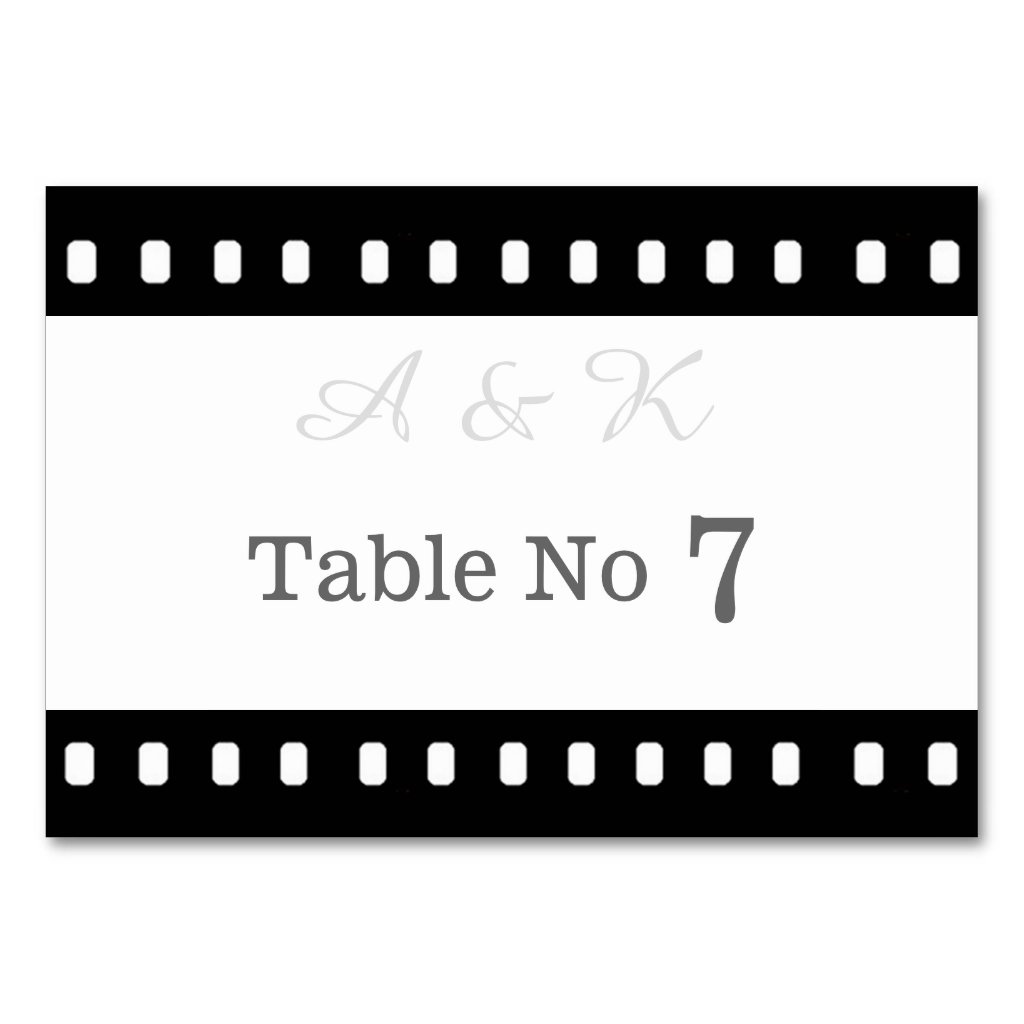 Wedding With A Movie Film Theme Table Card