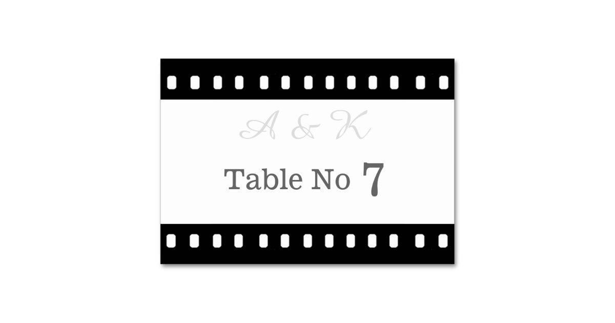 Wedding with a movie film theme table card zazzle for Table 9 movie