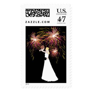 Wedding With Fireworks Postage