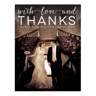 Wedding With Love & Thanks Photo Postcard