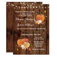 Wedding Wood Rustic Pumpkin Fall Autumn Invite