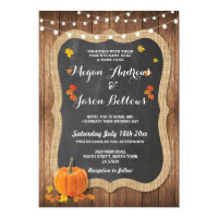 Wedding Wood Rustic Pumpkin Fall Chalk Invitation